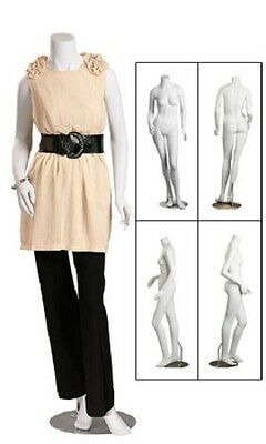 Fiberglass Female Posing Mannequin Metal Base Retail Molded Display Headless