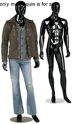 Sturdy Metal Based Max Glossy Black Male Mannequin With Detachable Arms Legs