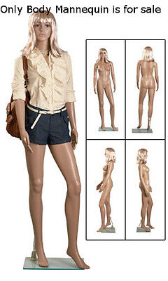 Molded Plastic Female Mannequin With Wig On Clear Glass Based 6 Feet Tall