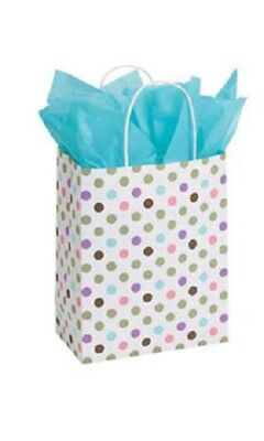 "25 Paper Bags Polka Dot Green Pink Purple Gift Retail Shopping 8 ¼ x 4 ¾ x 10 ½"" (Purple Paper Bags)"
