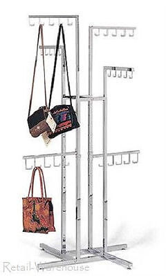 Handbag Purse Rack 4-way Display 30 J-hooks Adjustable To 72 4 Locking Casters
