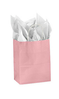 Count Of 100 New Medium Pink Glossy Paper Shopping Bags 8 X 4 X 10