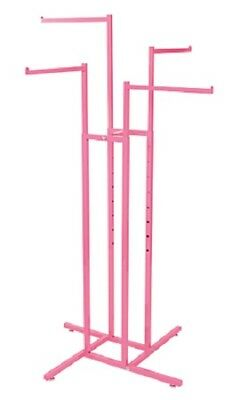 4-way Clothing Rack Hot Pink Straight Arm Garment Retail Display 48 - 72 H