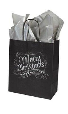 100 Christmas Chalkboard Paper Shopping Bags Medium 8 X 4 X 10 Black