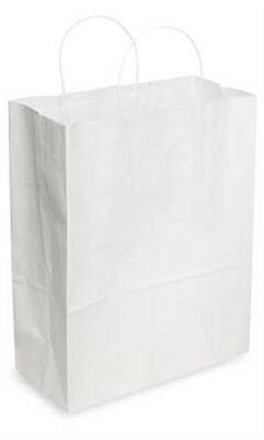 Jumbo Kraft Paper Shopping Bags In White 16 X 6 X 19 Inches - Case Of 200