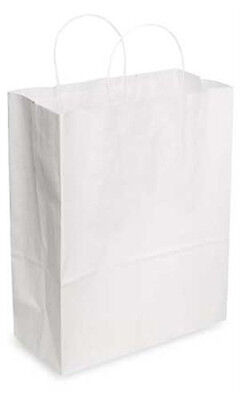 Count Of 200 Jumbo White Kraft Paper Shopping Bags 16l X 6d X 19 H