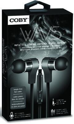 Coby CVE-130-BLK Wavs Metal Tangle Free Earbuds W/Mic