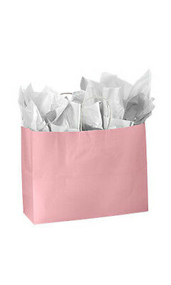 Count Of 100 New Large Pink Glossy Paper Shopping Bags 16 X 6 X 12