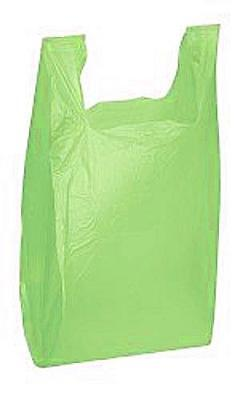 Lime Green Plastic Medium T-Shirt Bags 11 ½ x 6 x 21 Inches - Case of 1000