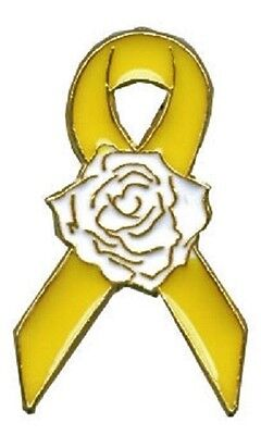 yellow awareness ribbon white rose lapel pin cancer cause disorder syndrome new