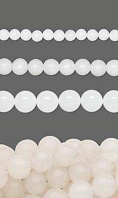 50 Round Genuine White Snow Quartz Natural Gemstone Stone Beads Small - Big