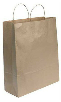 Jumbo Paper Shopping Bags In Natural Finish 16 W X 6 D X19 H Inches - 200 Bags