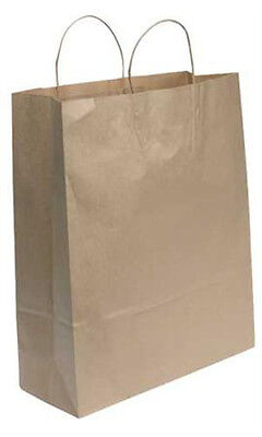 Count Of 200 Jumbo Natural Kraft Paper Shopping Bags 16l X 6d X 19 H