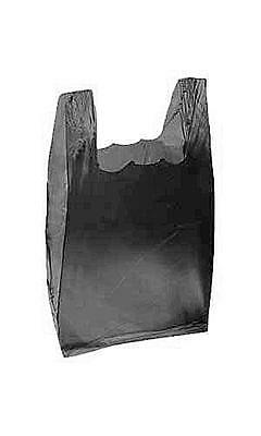Count of 2000 Black Plastic T-Shirt Bags - Small 8