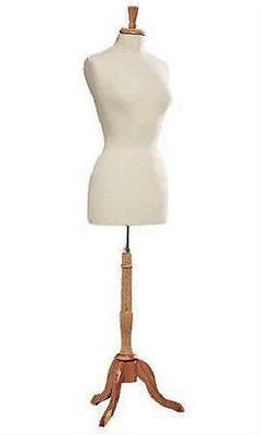Womens Dressmaker Seamstress Dress Form Ivory Mannequin Size 8 Wood Base Female