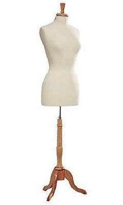 Womens Dressmaker Seamstress Dress Form Ivory Mannequin Size 8 Wood Base Female