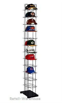 72 Hats Cap Hat Rack 12-tier Baseball Tower Black Floor Standing Display 78 H