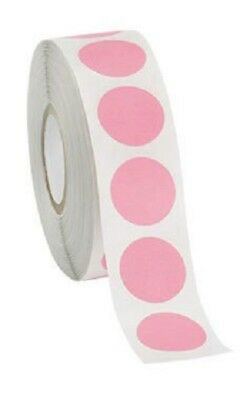 Self Adhesive Labels 34 Dot Circle Stickers Pink 2000 Labels 2 Rolls Blank