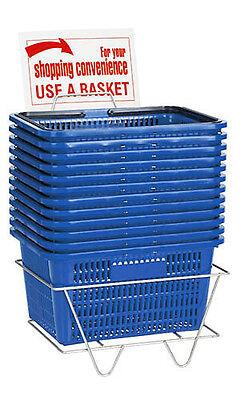 Shopping Baskets Set Of 12 Blue Standard Plastic Handles W Metal Stand