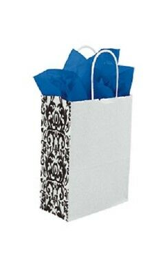 250 Small Paper Bags Damask White Black Shopping 5 X 3 X 8 Gusset Retail