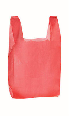 Plastic T-Shirt Bags in Red 8 x 5 x 16 Inches - Box of 2000