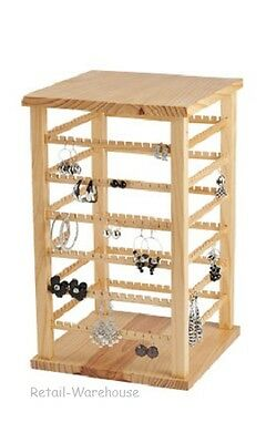Wood Earring Display Rotating Rack Countertop 168 Pair 9 38 X 9 38 X 16 38