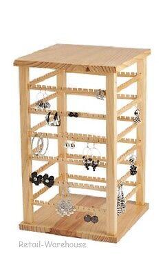 Wood Earring Display Rotating Rack Countertop 168 Pair 9 38 X 9 38 X 16 38