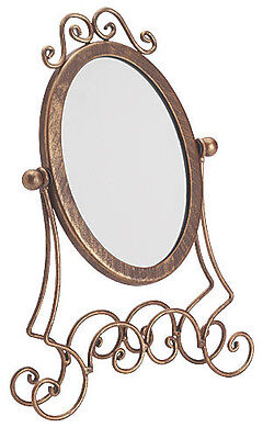 "Mirror Countertop Boutique 11 ½"" Tall Glass Jewelry Display Make Up Wroght Iron"