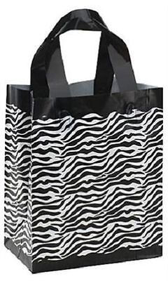 Plastic Shopping Bags 25 Frosted Zebra Print Frosty Merchandise 8 X 5 X 10