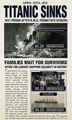 Micronesia 2012 - R.M.S. 100th Anniversary Titanic - Sheet of 3 MNH