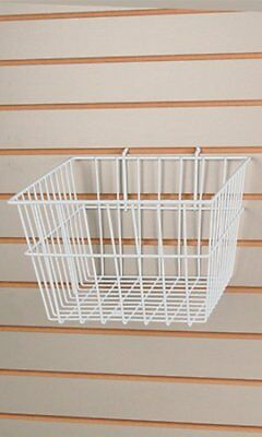 New White Wire Slatwall Baskets 12l X 12w X 8d