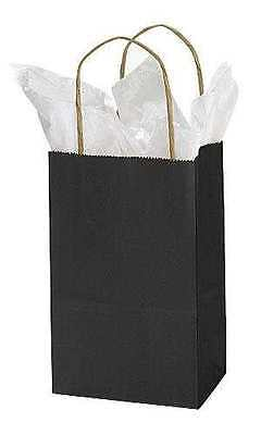 Black Paper Bags 25 Small Retail Merchandise Shopping Gift 5 X 3 X 8