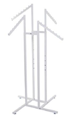 4-way Clothing Rack White Slant Arm Garment Retail Display 48 - 72 H Adjust