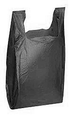 """NEW 100 Qty Black Plastic T Shirt Retail Shopping Bags w/ Handles 10"""" x 5"""" x 18"""""""
