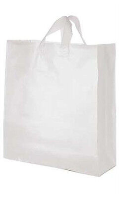 Jumbo Clear Plastic Frosted Shopping Bag 16 X 6 X 19 Inches - Case Of 200