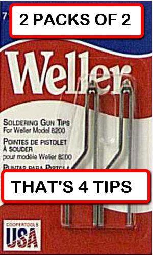 (2 PACKS OF 2 = 4 TIPS)  WELLER 7135W Solder Tip for 8200 and 9200 Soldering Gun