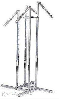 Clothing Rack 4-way Slant 16 Arms Clothes Retail Display 48 - 72 H Waterfall