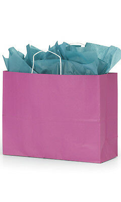 Count Of 100 New Retail Large Shocking Pink Paper Shopping Bag 16 X 6 X 12