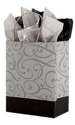 Paper Bags Shopping 100 Medium Merchandise Black Silver 8 X 4 X 10 Cub
