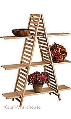 A Frame Display Shelves Merchandise Natural Wood Finish Pine Slat 3 Shelf 5