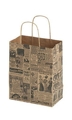 Count Of 25 Medium Newsprint Paper Shopper 8 X 4 X 10