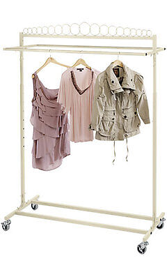 Clothing Rack Salesman Retail Garment Rolling Double Rail Casters Off White