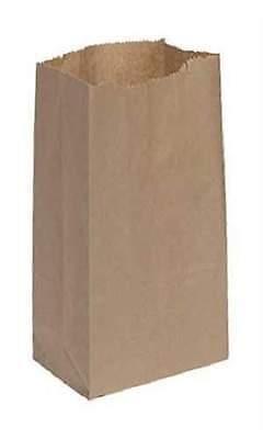 "1000 Natural Paper Grocery Bags Sacks 6"" x 3 ⅝"" x 11 1/16"" #35 Flat Bottom"