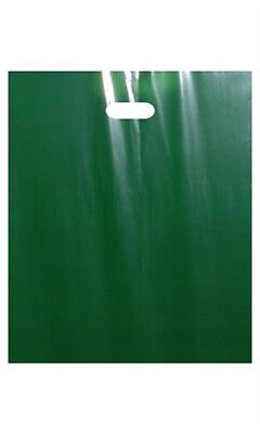 Low Density Merchandise Bags Large in Dark Green with Die Cut Handles - 500 Pc