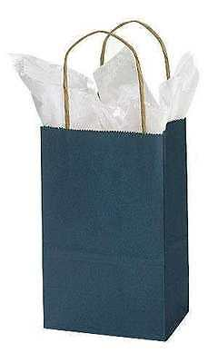 Paper Shopping Bags 100 Navy Blue Retail Merchandise Gift 5 X 3 X 8