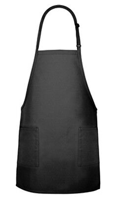 Black 2 Pocket Bib Apron - Great For Cooking School Commercial Restaurant Grade