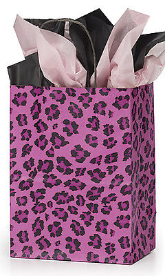 Count Of 100 Retail Medium Pink Leopard Print Paper Shopping Bag 8 X 4 X 10