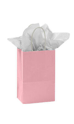 Count Of 100 New Small Pink Glossy Paper Shopping Bags 5 X 3 X 8