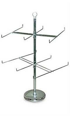 New Silver 2 Rotating Tiers Spinner Rack With 6 Long Pegs 26 Dia. X 25 H