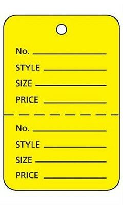 1000 Perforated Tags Price Sale Large 1 X 2 H Two Part Yellow Unstrung